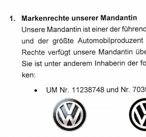 Abmahnung Volkswagen und Lubberger Lehment