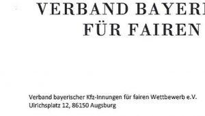 Abmahnung Verband Bayrischer Kfz-Innungen für fairen Wettbewerb e.V.